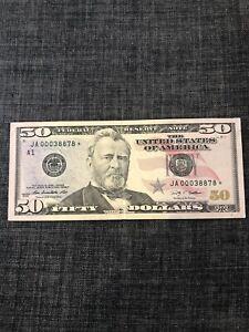 2009 $50 Bill Star Note Low Serial Number JA00038878*