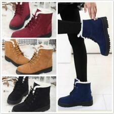 2016 Vogue Womens Winter Fur Lined Lace Up Flat High Ankle Snow Boots Shoes FW