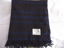 Striped Throw/Travel Rug/Blanket in blue grey and brown in 100% Scottish wool