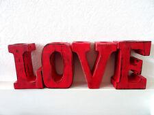 Große Shabby Chic Holz Buchstaben LOVE Teelichthalter Deko Geschenk Valentinstag
