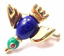 Authentic! Vintage Cartier 18k Yellow Gold Lapis Lazuli Ruby Bird Pin Brooch