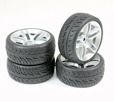 4Pcs 1/10 Scale On-Road Tires and Wheel Hub for 1/10 RC Car On-Road