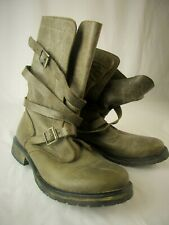 Steve Madden Aged Gray Brown Leather Boots W/ Strap Buckles Shoes Size 8.5