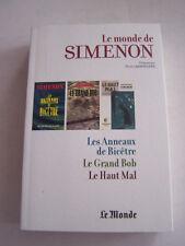 LE MONDE DE SIMENON , PAR PIERRE ASSOULINE 3 ROMANS EN 1 . 500 PAGES . BON ETAT