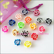 10Pcs Mixed Handmade Polymer Fimo Clay Flower Spacer Beads Charms 12mm