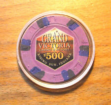 $500. Paulson GRAND VICTORIA CASINO CHIP - Primary Chip - RISING SUN, INDIANA