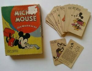 Mickey Mouse Old Maid Card Game Vintage 1937 Complete Deck w/Box Disney
