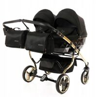 Premium Twin Pram Junama Diamond S Duo Gold Black Double Buggy Baby Twins