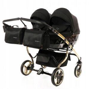 Premium Twin Pram Junama Diamond S Duo Gold Black Double Buggy Baby Twins