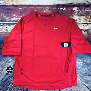 NWT NIKE Baseball 3/4 Sleeve Pullover Bat Cage Hitting Jacket Team Red 2XL XXL