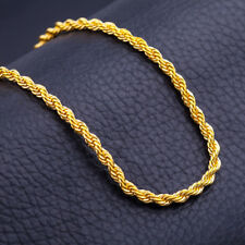 "HEAVY 6MM THICK GOLD FILLED 18K Italian Rope necklace 22"" chain men man hip"