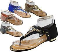 Womens Flat Summer Sandals Ladies Diamante Wedding Toe Post Casual Slipper
