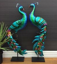 SET OF 2 PEACOCK ANIMAL BIRD GARDEN DECOR STATUE ORNAMENT FIGURINE METAL OUTDOOR
