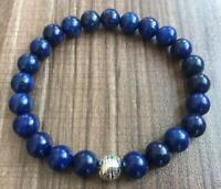 8mm Lapis lazuli Bracelet Bead Reiki Spirituality cuff mala Gemstone yoga men