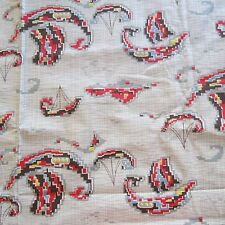 88cm X 89cm vintage Cotton Fabric 1940S 1950S Red Brown Viking Boat Novelty Sew