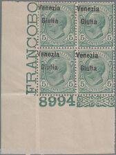 VENEZIA GIULIA 1918 C.5 verde, soprastampa spostata S.21 quartina MNH** - F382