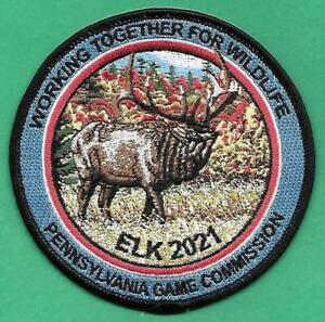 """Pa Pennsylvania Fish Game Commission NEW 2021 4"""" WTFW Bull Elk Patch - ( A )"""