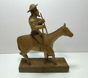 Vintage Don Quixote on Horse with Oars Wood Carved Figure Sculpture
