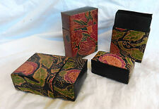Hand Painted Leather Box w/ Lid - Cigarette Box / Card Case / Trinket Box - NEW