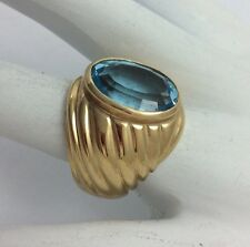 14K YELLOW GOLD LARGE OVAL BLUE TOPAZ RING SIZE 7.75