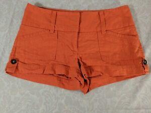 CHARLOTTE RUSSE Women's Orange Linen Blend Mid Rise Mini Shorts size 2