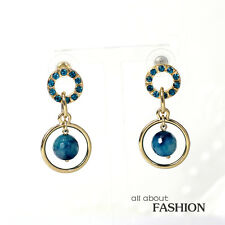 Boucles d'Oreilles Clous Doré Anneau Perle Agate Bleu Cristal Vintage Class BB 9