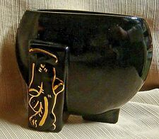 40's ART DECO STYLE Black w/ Gold ART POTTERY PLANTER