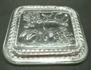 """Refrigerator Dish Glass LID ONLY Ribbed Fruit Replacement 5"""" by 4 3/8"""""""