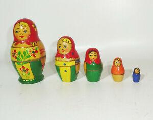 Antiguo Ruso Matroschka Матрёшка Udssr Muñeco 5teilig Decoración Vintage (Nr.2