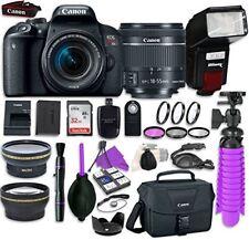 Canon EOS Rebel T7i Digital SLR Camera  EF-S 18-55mm IS STM Lens +Flash