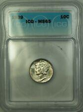 1939 Silver Mercury Dime 10c Coin ICG MS-65 GEM BU (A)