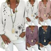 Women Floral V-Neck Long Sleeve T Shirts Autumn Casual Loose Tunic Tops Blouses