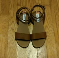 Steve Madden Womens Sandals Brown Ankle Straps Dairr Dalton Flats Size 7 NEW