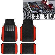 Red Black Carpet Floor Mats for Car Sedan SUV Van Universal Fitment w. Dash Mat