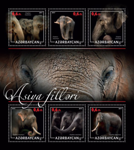 Azerbaijan Elephants 2017 MNH Sheet fauna Wild Animals Asian Elephant