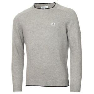Calvin Klein Golf Chunky Rundhals Sweater, Farbe: Grey Marl