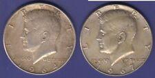 United States 2 Silver  coins.  2 X half dollar 1964,1967 EXTRA FINE