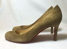 Christian Louboutin Simple Pump 70 Beige Brown Suede Pumps Euro 35 / US 5