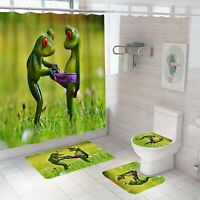 Frog Shower Curtain Set Bathroom Rug Thick Bath Mat Non-Slip Toilet Lid Cover