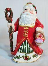 Vtg Royal Albert Musical Old Country Roses Santa Basket Christmas Ornament 2008