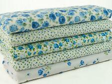 Fat Quarter Bundle -  5 Blue Shabby Chic Florals - Poly Cotton Fabric Remnants