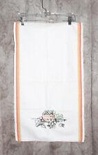 New listing Vintage Martex Dish Towel White Orange Border Stripes Embroidered 16 ½� x 29�