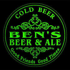 4x ccqs0212-g BEN'S Beer & Ale Cold Beer Bar Engraved Coasters