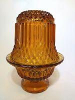 Vintage Indiana Glass Princess House  Amber  Diamond Point Fairy Lamp Holder