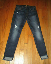 """7 FOR ALL MANKIND """"the Ankle Skinny"""" Dark Raw Hem Mid-Rise Jeans Sz 27x27-1/2"""