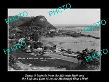 OLD POSTCARD SIZE PHOTO OF GENOA WISCONSIN PANORAMA OF THE TOWNSHIP c1940