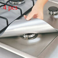 4PCS Reusable Stove Clean Mat Aluminum Foil Gas Oil Protector Liner Burner Cover