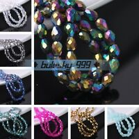 Wholesale 100pcs 6X4mm Teardrop Faceted Crystal Glass DIY Loose Spacer Beads