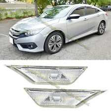 For 16-Up Honda Civic Front Bumper Reflector Side Marker Lights Lamps (Clear)