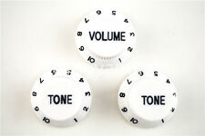 White Black 1 Volume&2 Tone Guitar Control Knobs For Fender Strat Style Guitar